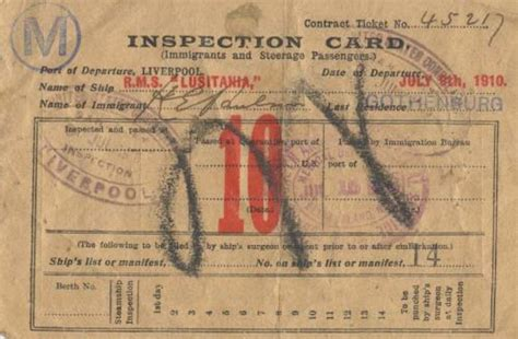 Immigrant Inspection Card - R