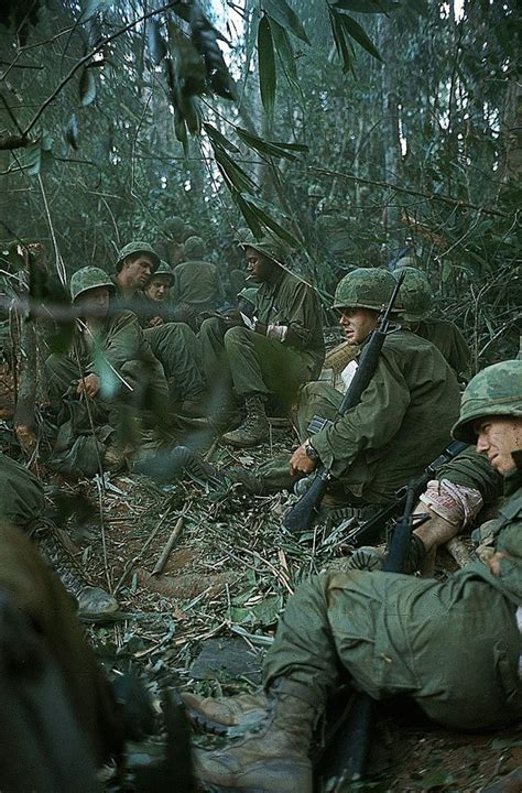 Dak To 1967 - Wounded soldiers on Hill 875 awaiting