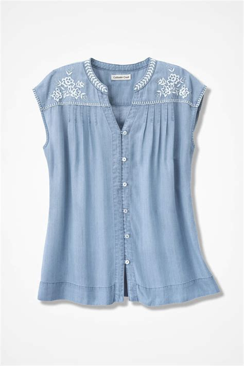 Embroidered Tencel® Blouse - Coldwater Creek