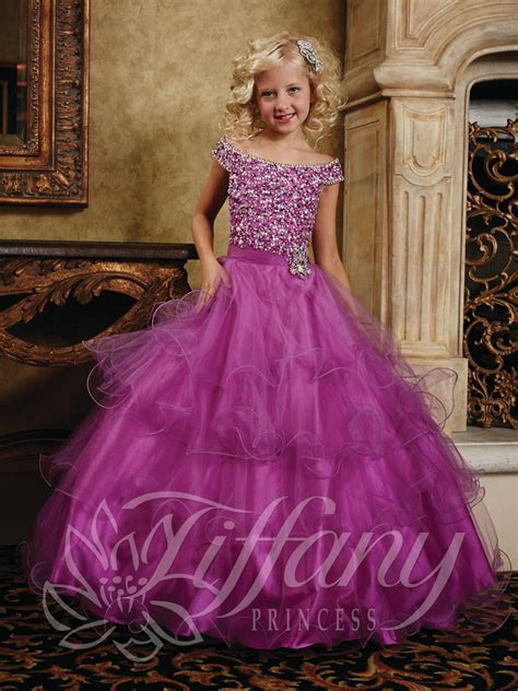 Tiffany Princess 13388 Girls Cap Sleeve Ball Gown: French