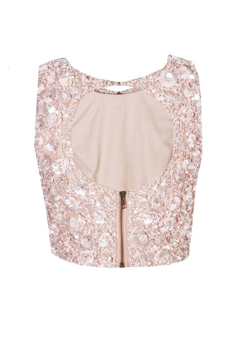 LACE&BEADS HAZEL CUT OUT PINK SEQUIN TOP   LACE&BEADS TOPS