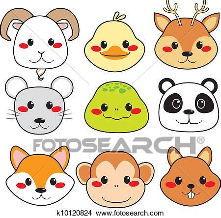 Happy Animal Faces Clipart   k10120824   Fotosearch