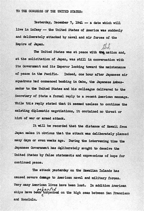 original text of Pearl Harbor Address to the Nation
