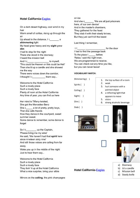 Song Worksheet: Past Simple and Continuous Song