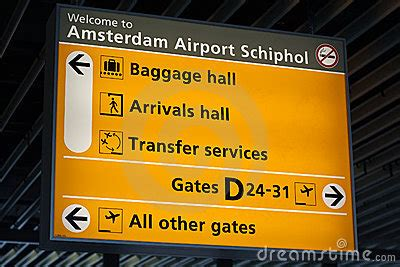 Information Sign In Schiphol Airport Royalty Free Stock